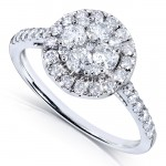 Diamond Cluster Engagement Ring 1 Carat (ctw) in 14k White Gold_10.5