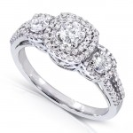 Three-Stone Diamond Cluster Engagement Ring 1 Carat (ctw) in 14k White Gold _9.0
