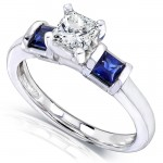 Blue Sapphire and Diamond Engagement Ring 1 Carat (ctw) In 14k White Gold_6.5
