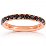 Black Diamond Comfort Fit Flame French Pave Band 1/2 carat (ctw) in 14K Rose Gold