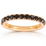 Black Diamond Comfort Fit Flame French Pave Band 1/2 Carat (ctw) in 14K Yellow Gold_7.5