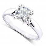 Cushion-cut  Moissanite Solitaire Ring 1 1/10 Carat (ctw) in 14k White Gold_10.0