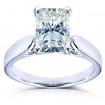 Radiant-cut Moissanite Solitaire Ring 1 4/5 Carat (ctw) in 14k White Gold_9.5