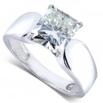 Radiant-cut Moissanite Solitaire Ring 1 4/5 Carat (ctw) in 14k White Gold_8.5