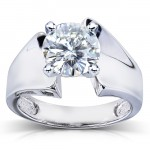Round Moissanite Solitaire Ring 1 1/2 Carat (ctw) in 14k White Gold