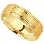 Classy 14k Yellow Gold Mens Wedding Band (7MM)