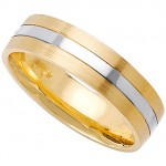 Classy 14k Yellow & White Gold Mens Wedding Band (6MM)_5.0