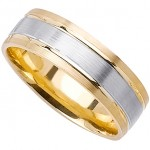 Classy 14k Yellow & White Gold Mens Wedding Band (6MM)_8.0
