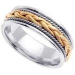 Handmade Braided 14k White & Yellow Gold Band (6MM)_8.5