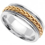 Handmade Braided 14k White & Yellow Gold Band (6MM)_9.0
